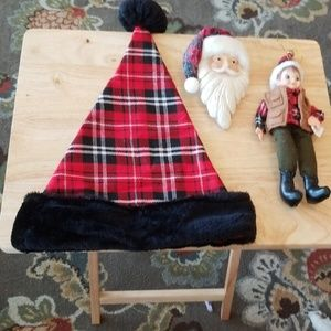 2 Christmas Ornaments and Christian hat